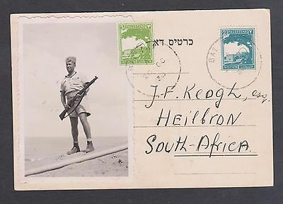 Palestine P.Card to S.Africa ex Bat Yam / dated 26th October 38.