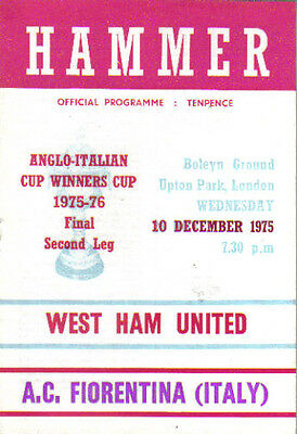 1975-76  WEST HAM  v  FIORENTINA  (ANGLO-ITALIAN  CUP WINNERS CUP FINAL)