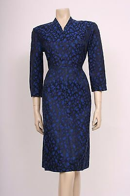 Original VINTAGE 1950's 50's 60's BLUE BLACK BROCADE WIGGLE GLAM DRESS! UK 14