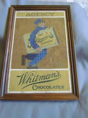 Vintage Framed Whitman's Chocolates Painting on Burlap
