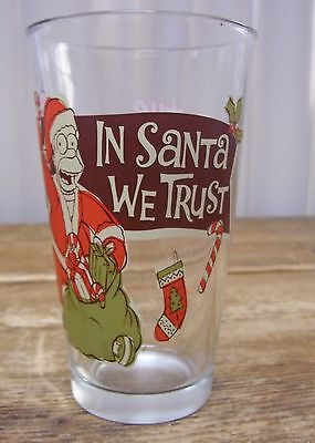 Homer Simpson In Santa We Trust Glass Tumbler Matt Groening