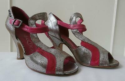 Retro 1930's Deco Style Pink & Silver Leather Sandals by Red or Dead Sz 36, UK 3