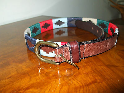 Pampeano Argentinian leather Polo belt, embroidered