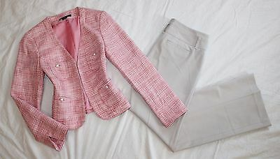 EXPRESS Size 4 / 6 Women's Pant Suit Pink & Ivory PERFECT! EDITOR Pants