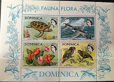 Dominica 1970 Souvenir Sheet -- Turtles, Fish, Parrots Set