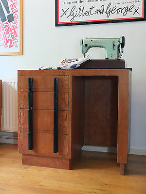 Vintage handmade sewing table desk with art deco styling