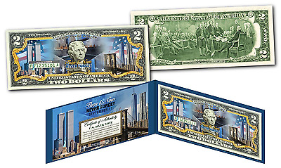 WORLD TRADE CENTER * THEN & NOW * 9/11 WTC Official Legal Tender $2 US Bill *NEW