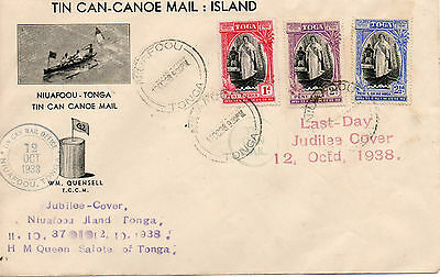 Tonga 1938 Last Day Tin Can Mail Cover With Many Cachets