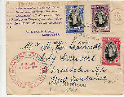 Tonga 1938 Jubilee  Tin Can Mail Cover With Many Cachets