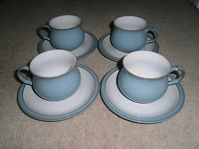 4 x STYLISH COLLECTABLE DENBY COLONIAL BLUE CUPS & SAUCERS EXCELLENT CONDITION