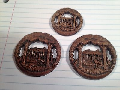 LOT 3 Openwork CARRIAGE House Trees Vintage Antique Burwood/Syroco wood BUTTONS