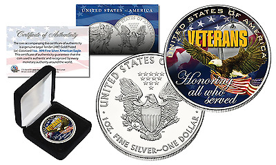 VETERANS U.S.A. - Genuine 1 oz .999 SILVER AMERICAN US SILVER EAGLE w/BOX & COA
