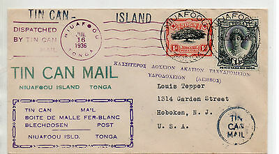 Tonga 1936 Tin Can Mail Cover To Tasmania With Many Cachets