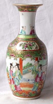 C19Th Chinese Canton Vase Decorated With Various People Flowers Birds Insects