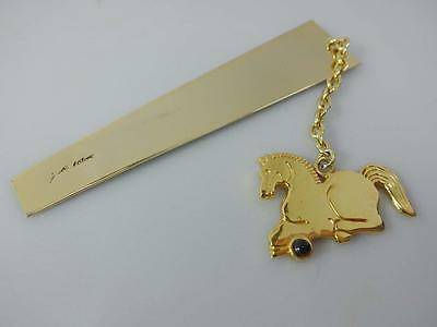 Judith Leiber Gold Tone Horse & Black Stone, Chain & Marker Bookmark Excellent