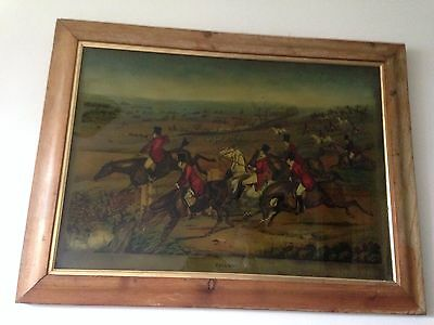 Stunning Large Vintage Decorative Wall Hanging Fox Hunting Scene Glass Painting