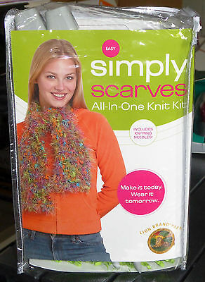 Simply Scarves All-In-One Knit Kit w/Super Colorful Lion Brand Yarn, Rated Easy