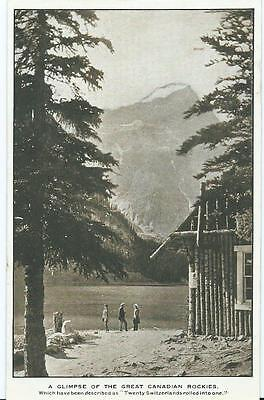 Vintage Black/White/Sepia Postcard Glimpse of The Great Canadian Rockies