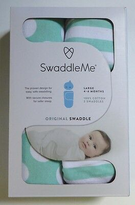 New SwaddleMe Original Large 4-6 Months Green & White 2 Pack NEW