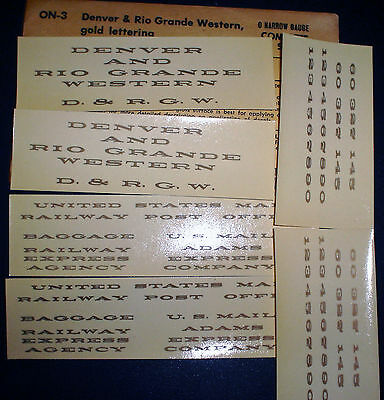 CHAMP, DENVER & RIO GRANDE WESTERN, D&RGW, PASSENGER CAR, On3 SCALE DECALS, ON-3