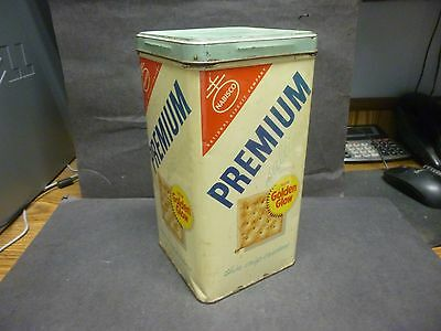 "Vintage Tin Advertising Container, ""Nabisco Premium Saltine Crackers""."