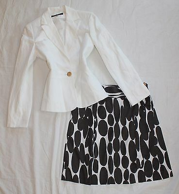 ANN TAYLOR Size 4 Women's Skirt Suit Brown & White PERFECT!