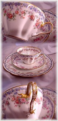 Antique Haviland Limoges France 271 Breakfast Cup And Saucer & Plate Roses Gold