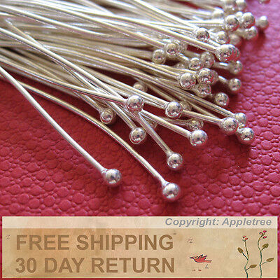 150 Solid Sterling Silver Ball Head Pins Wire 24 ga 1.5 in -Top Quality Headpins