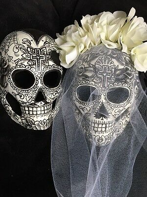 Bride Groom Sugar Skulls Mask Day Of The Dead Dia De Los Muertos Shells Black