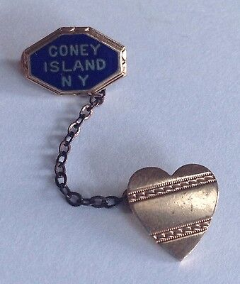 Vintage 1940's CONEY ISLAND, New York NYC Souvenir Sweetheart Lapel Pin