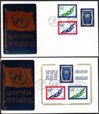 UN 25th Anniversary Stamps & S/S United Nations Sarzin First Day Covers