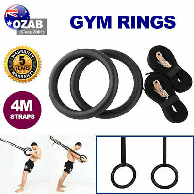 Gymnastic Rings Pair Gym Hoop Crossfit Exercise Fitness Home Ab Workout Dip AU