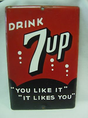 7Up Soda Seven-Up It Likes You Porcelain Palm Press Door Push Advertising Sign