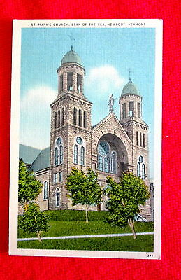 1940s vintage St. Mary's Church Star of the Sea Newport Vermont Postcard msc2