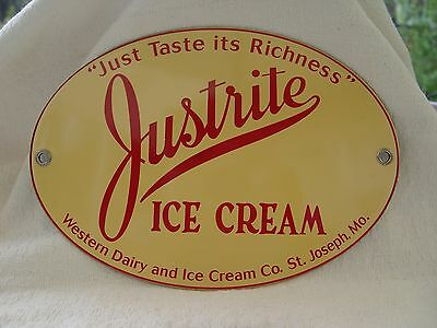Justrite Ice Cream Western Dairy Missouri Porcelain Advertising Sign