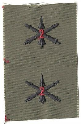 Cloth Army Collar Badge:  2nd Air Defense Artillery Officer, pair - subdued