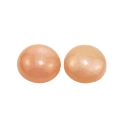 A PAIR OF 8mm ROUND CABOCHON-CUT NATURAL INDIAN PINK/ORANGE MOONSTONE GEMS
