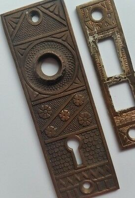 Antique Door Knob Face Plate Metal Hardware Skeleton Key Hole