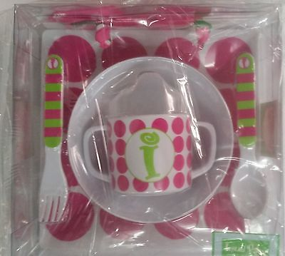 Mud Pie 5-Pc Baby Girl Initial Plate Bowl Sippy Cup Fork & Spoon Set,initial I