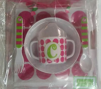 Mud Pie 5-Pc Baby Girl Initial Plate Bowl Sippy Cup Fork & Spoon Set,initial C