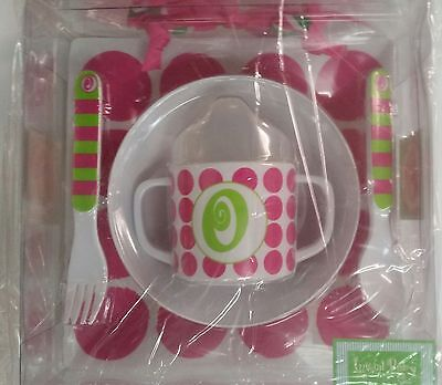 Mud Pie 5-Pc Baby Girl Initial Plate Bowl Sippy Cup Fork & Spoon Set,initial O