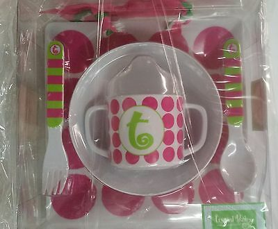 Mud Pie 5-Pc Baby Girl Initial Plate Bowl Sippy Cup Fork & Spoon Set,initial T