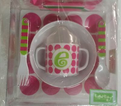 Mud Pie 5-Pc Baby Girl Initial Plate Bowl Sippy Cup Fork & Spoon Set,initial E