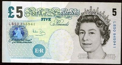 Great Britain 5 Pounds  2002(2004) Note !!!! Xf-Au