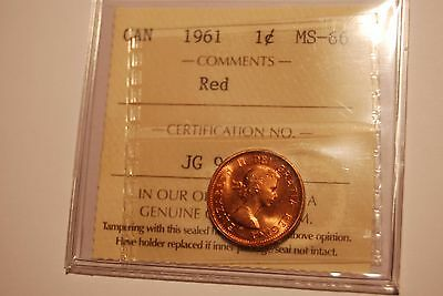 Canada Cent 1961 ICCS MS66 RED!
