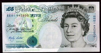 Great Britain 5 Pounds  1990 Note !!!! Xf-Au