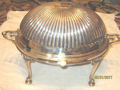 English, Silver Plate, Breakfast Dish, Roll Top Dome Cover, Hot or Cold Entrees