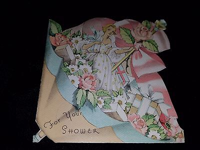 Beautiful Girl in Umbrella Shower Gifts Roses VTG Wedding Greeting Card