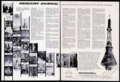 1962 NASA Mercury spacecraft 25 photo & art McDonnell Aircraft vintage print ad
