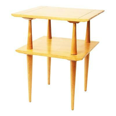Mid Century Modern SIDE TABLE blonde 2 tier vintage end accent 50s heywood style
